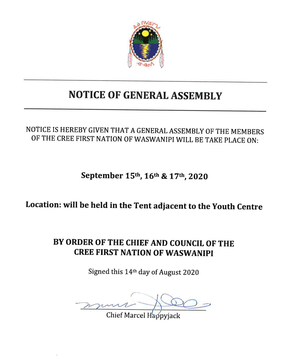 notice of general assembly 2020